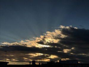 事務所からの夕陽